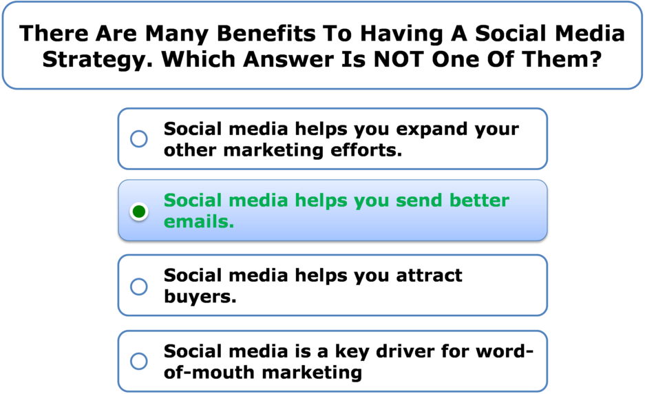 There are many benefits to having a social media strategy. Which answer is NOT one of them?