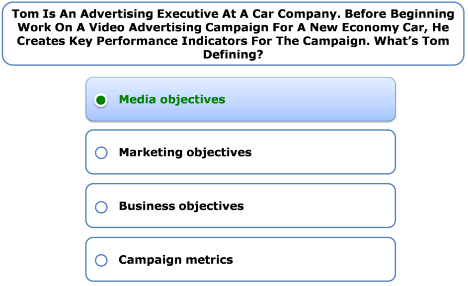 Tom is an advertising executive at a car company. Before beginning work on a video advertising campaign for a new economy car, he creates key performance indicators for the campaign. What's Tom defining?