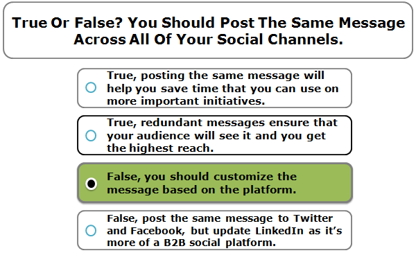 True or false? You should post the same message across all of your social channels.