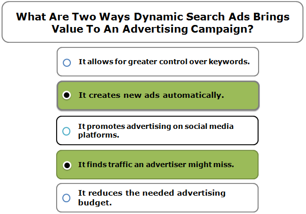 What are two ways Dynamic Search Ads brings value to an advertising campaign? (Choose two.)
