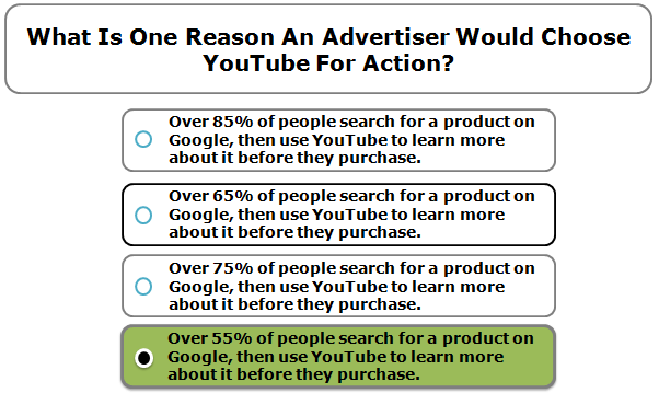 What is one reason an advertiser would choose YouTube for action?