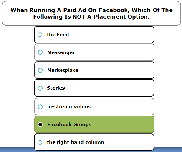 When running a paid ad on Facebook, which of the following is NOT a placement option.