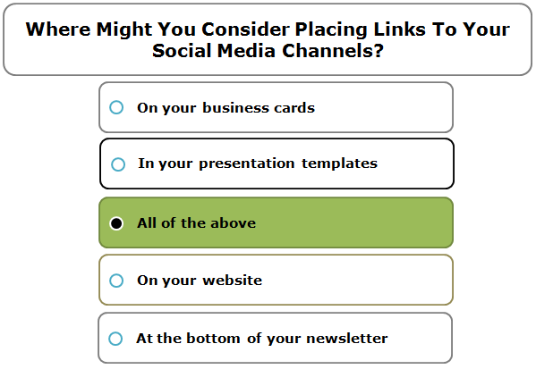 Where might you consider placing links to your social media channels?