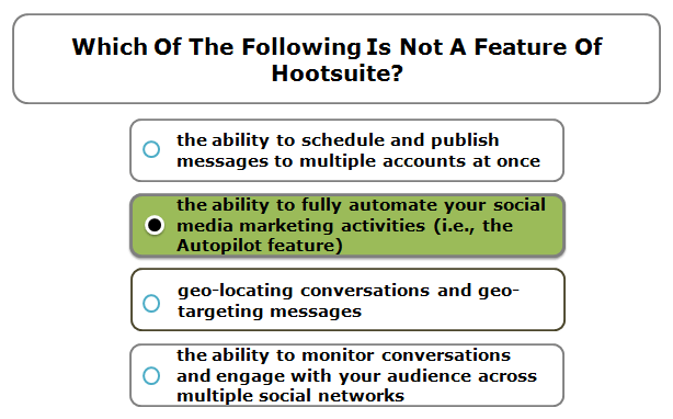 Which of the following is not a feature of Hootsuite?