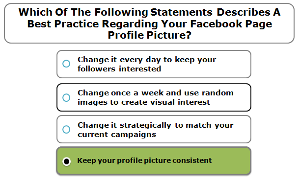 Which of the following statements describes a best practice regarding your Facebook page profile picture?