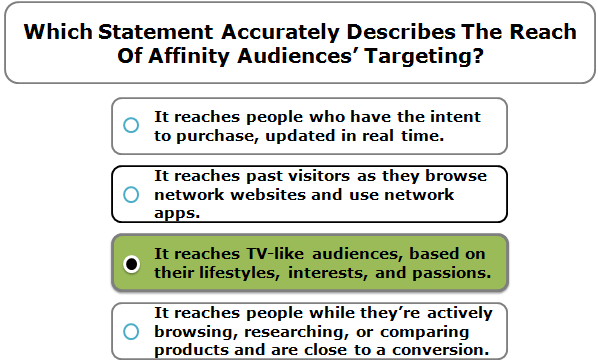 Which statement accurately describes the reach of Affinity Audiences' targeting?