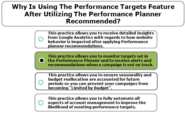 Why is using the performance targets feature after utilizing the Performance Planner recommended?