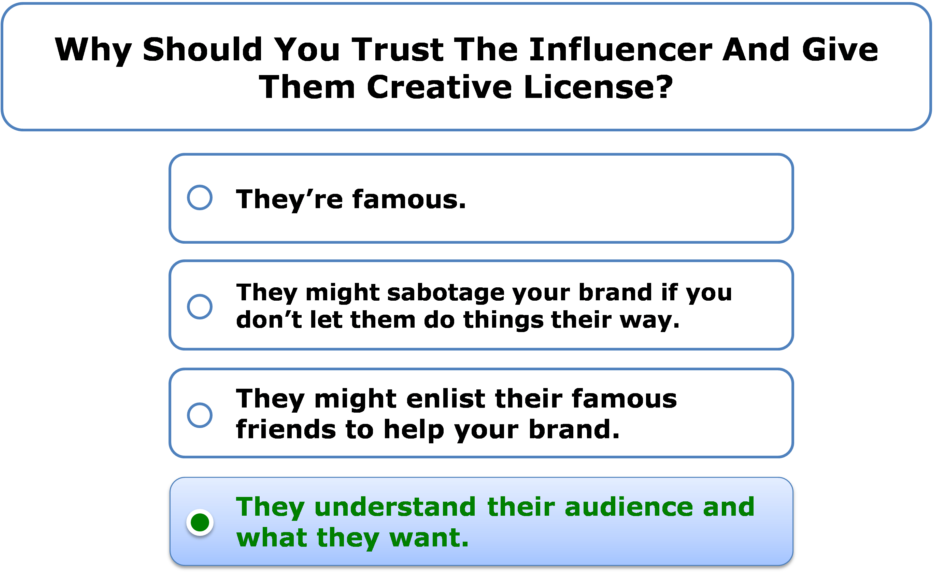 Why should you trust the influencer and give them creative license?