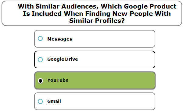 With Similar Audiences, which Google product is included when finding new people with similar profiles?