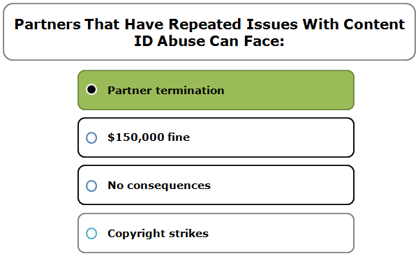 Partners That Have Repeated Issues With Content ID Abuse Can Face: