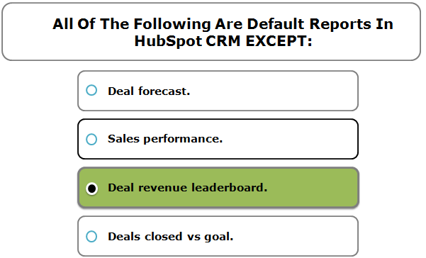 All Of The Following Are Default Reports In HubSpot CRM EXCEPT: