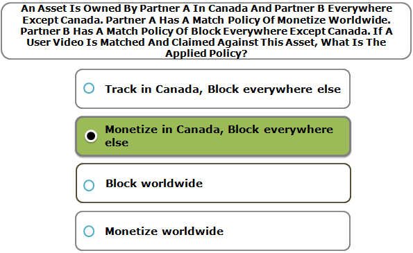 An Asset Is Owned By Partner A In Canada And Partner B Everywhere Except Canada. Partner A Has A Match Policy Of Monetize Worldwide. Partner B Has A Match Policy Of Block Everywhere Except Canada. If A User Video Is Matched And Claimed Against This Asset, What Is The Applied Policy?