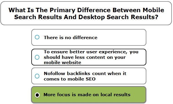What Is The Primary Difference Between Mobile Search Results And Desktop Search Results?