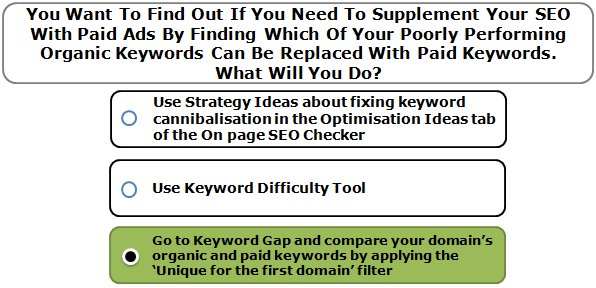 You Want To Find Out If You Need To Supplement Your SEO With Paid Ads By Finding Which Of Your Poorly Performing Organic Keywords Can Be Replaced With Paid Keywords. What Will You Do?