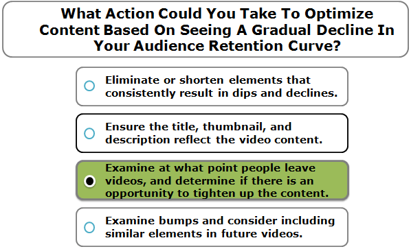 What Action Could You Take To Optimize Content Based On Seeing A Gradual Decline In Your Audience Retention Curve?