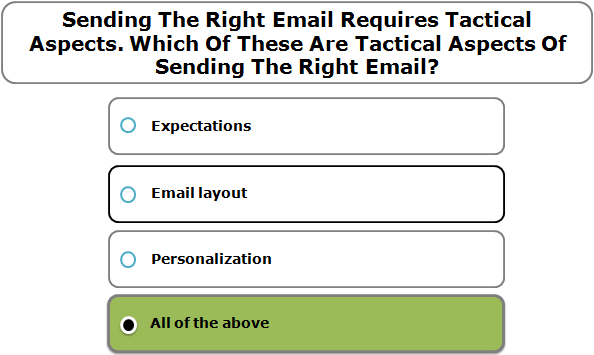 Sending The Right Email Requires Tactical Aspects. Which Of These Are Tactical Aspects Of Sending The Right Email?