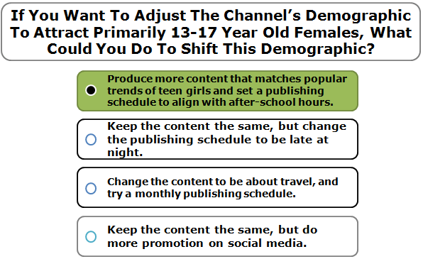If You Want To Adjust The Channel's Demographic To Attract Primarily 13-17 Year Old Females, What Could You Do To Shift This Demographic?