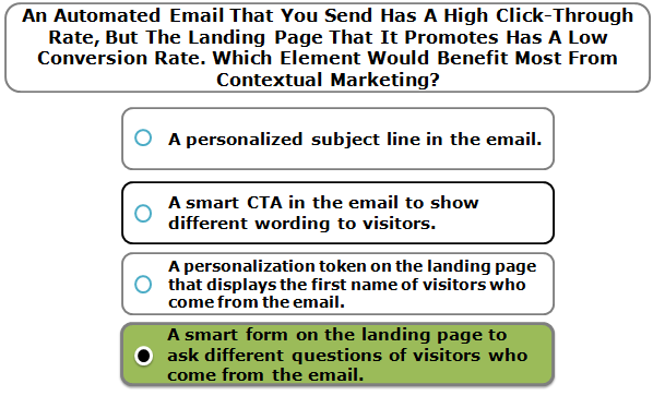 An Automated Email That You Send Has A High Click-Through Rate, But The Landing Page That It Promotes Has A Low Conversion Rate. Which Element Would Benefit Most From Contextual Marketing?