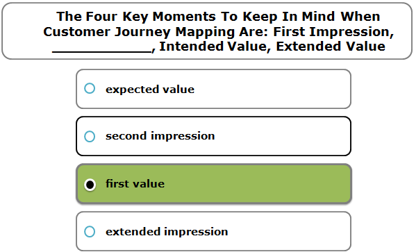 The Four Key Moments To Keep In Mind When Customer Journey Mapping Are: First Impression, ___________, Intended Value, Extended Value