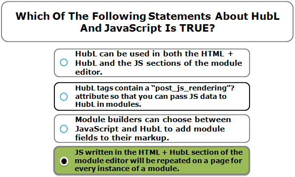 Which Of The Following Statements About HubL And JavaScript Is TRUE?