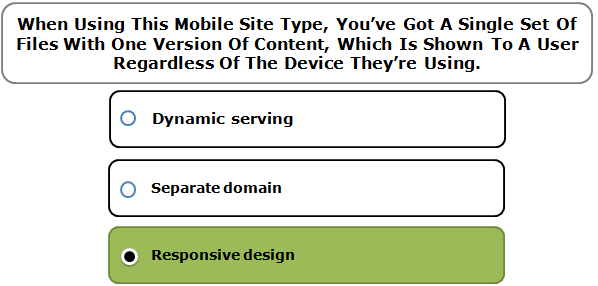 When Using This Mobile Site Type, You've Got A Single Set Of Files With One Version Of Content, Which Is Shown To A User Regardless Of The Device They're Using.