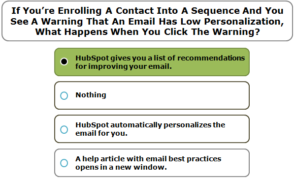 If You're Enrolling A Contact Into A Sequence And You See A Warning That An Email Has Low Personalization, What Happens When You Click The Warning?