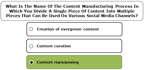 What Is The Name Of The Content Manufacturing Process In Which You Divide A Single Piece Of Content Into Multiple Pieces That Can Be Used On Various Social Media Channels?