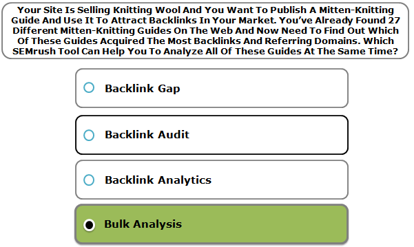 Your Site Is Selling Knitting Wool And You Want To Publish A Mitten-Knitting Guide And Use It To Attract Backlinks In Your Market. You've Already Found 27 Different Mitten-Knitting Guides On The Web And Now Need To Find Out Which Of These Guides Acquired The Most Backlinks And Referring Domains. Which SEMrush Tool Can Help You To Analyze All Of These Guides At The Same Time?