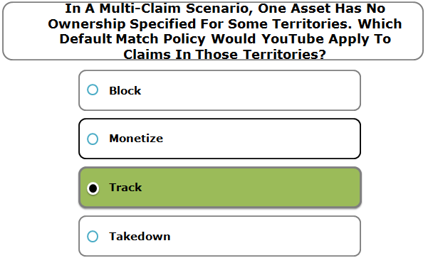 In A Multi-Claim Scenario, One Asset Has No Ownership Specified For Some Territories. Which Default Match Policy Would YouTube Apply To Claims In Those Territories?
