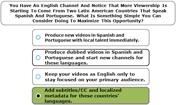 You Have An English Channel And Notice That More Viewership Is Starting To Come From Two Latin American Countries That Speak Spanish And Portuguese. What Is Something Simple You Can Consider Doing To Maximize This Opportunity?