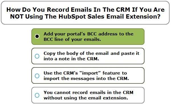 How Do You Record Emails In The CRM If You Are NOT Using The HubSpot Sales Email Extension?