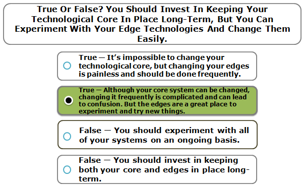 True Or False? You Should Invest In Keeping Your Technological Core In Place Long-Term, But You Can Experiment With Your Edge Technologies And Change Them Easily.
