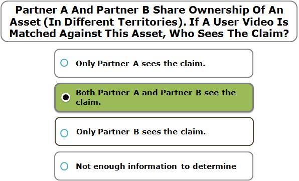 Partner A And Partner B Share Ownership Of An Asset (In Different Territories). If A User Video Is Matched Against This Asset, Who Sees The Claim?