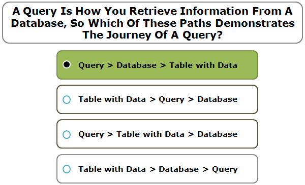 A Query Is How You Retrieve Information From A Database, So Which Of These Paths Demonstrates The Journey Of A Query?