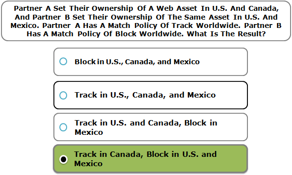 Partner A Set Their Ownership Of A Web Asset In U.S. And Canada, And Partner B Set Their Ownership Of The Same Asset In U.S. And Mexico. Partner A Has A Match Policy Of Track Worldwide. Partner B Has A Match Policy Of Block Worldwide. What Is The Result?