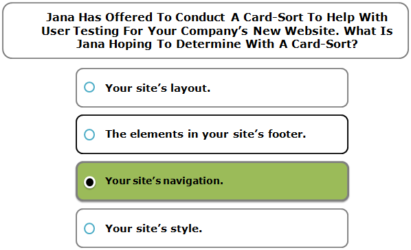 Jana Has Offered To Conduct A Card-Sort To Help With User Testing For Your Company's New Website. What Is Jana Hoping To Determine With A Card-Sort?