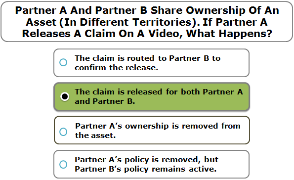 Partner A And Partner B Share Ownership Of An Asset (In Different Territories). If Partner A Releases A Claim On A Video, What Happens?