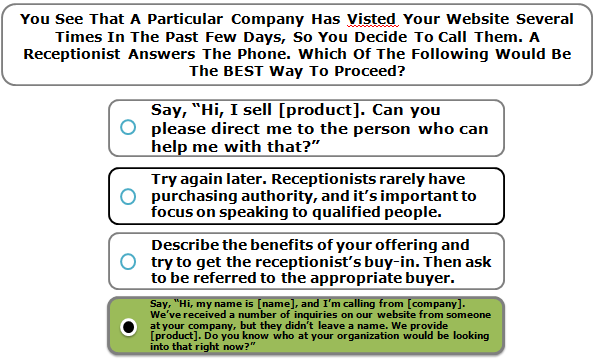 You See That A Particular Company Has Visted Your Website Several Times In The Past Few Days, So You Decide To Call Them. A Receptionist Answers The Phone. Which Of The Following Would Be The BEST Way To Proceed?