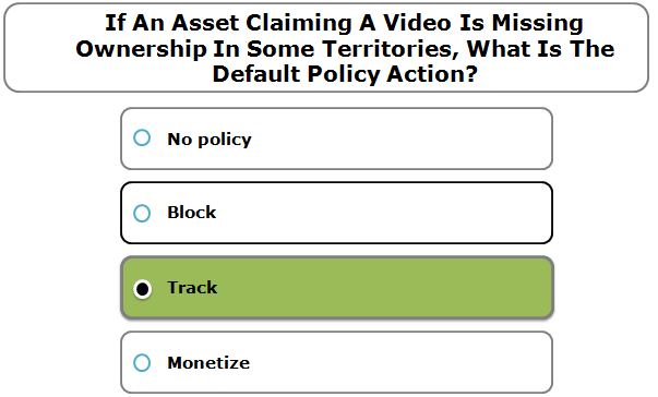 If An Asset Claiming A Video Is Missing Ownership In Some Territories, What Is The Default Policy Action?