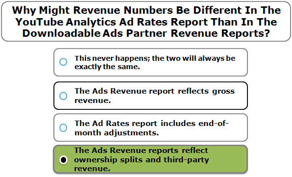 Why Might Revenue Numbers Be Different In The YouTube Analytics Ad Rates Report Than In The Downloadable Ads Partner Revenue Reports?