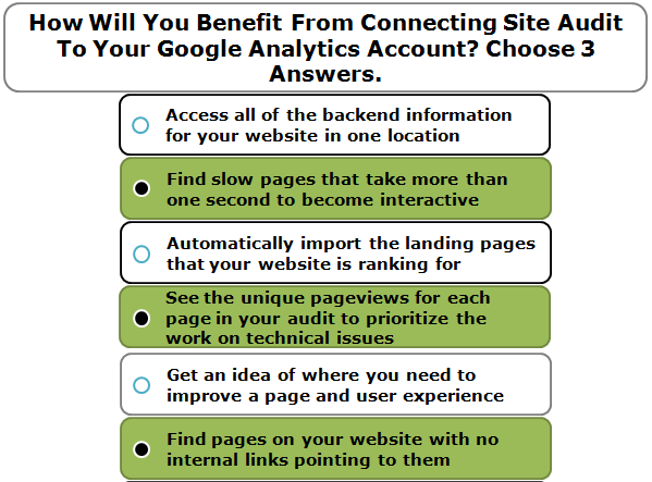 How Will You Benefit From Connecting Site Audit To Your Google Analytics Account? Choose 3 Answers.