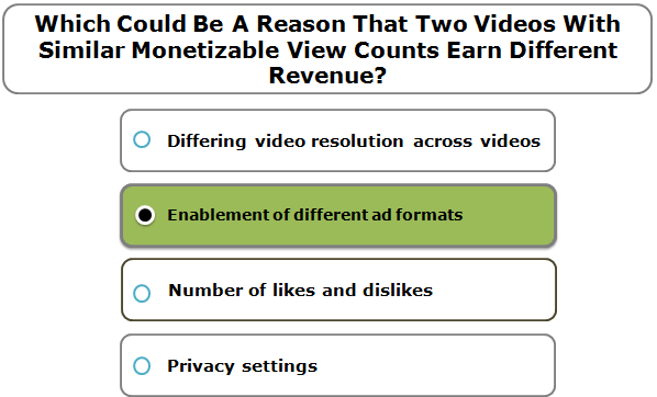 Which Could Be A Reason That Two Videos With Similar Monetizable View Counts Earn Different Revenue?