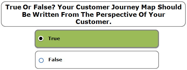 True Or False? Your Customer Journey Map Should Be Written From The Perspective Of Your Customer.