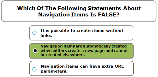 Which Of The Following Statements About Navigation Items Is FALSE?