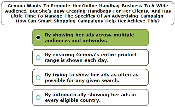 Gemma Wants To Promote Her Online Handbag Business To A Wide Audience. But She's Busy Creating Handbags For Her Clients, And Has Little Time To Manage The Specifics Of An Advertising Campaign. How Can Smart Shopping Campaigns Help Her Achieve This?