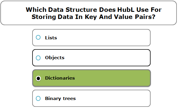 Which Data Structure Does HubL Use For Storing Data In Key And Value Pairs?