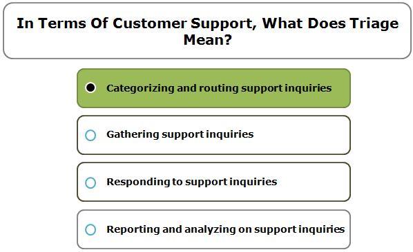 In Terms Of Customer Support, What Does Triage Mean?