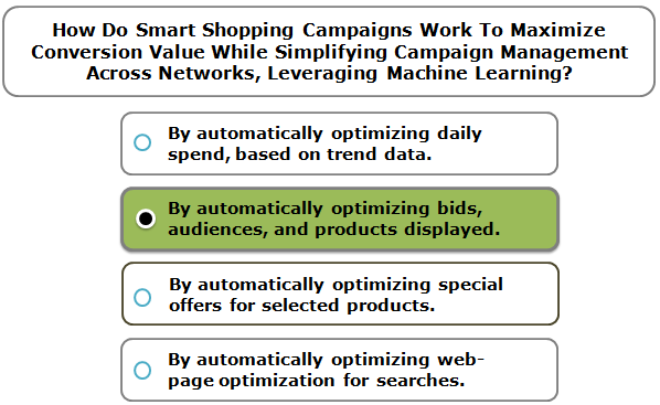 How Do Smart Shopping Campaigns Work To Maximize Conversion Value While Simplifying Campaign Management Across Networks, Leveraging Machine Learning?