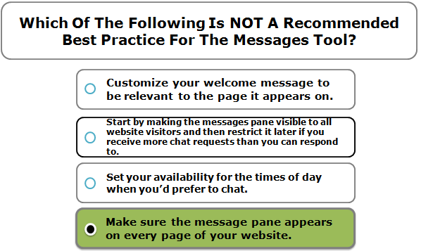 Which Of The Following Is NOT A Recommended Best Practice For The Messages Tool?