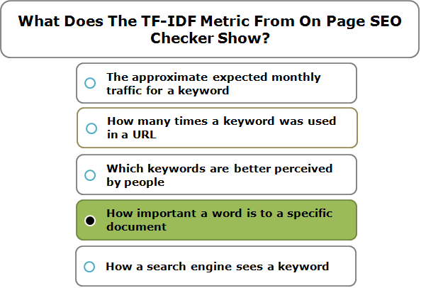 What Does The TF-IDF Metric From On Page SEO Checker Show?